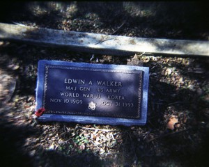Grave marker for General Edwin A. Walker in Center Point Cemetery