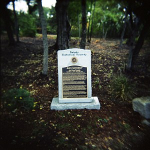 Monument for Liz Carpenter on College Hill in Salado, Texas
