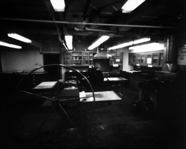 Pinhole photo of the printmaking studio at Southern Methodist University. 30 minute exposure on Ilford paper